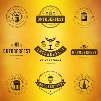 Oktoberfest-abzeichen und etiketten set vintage typografische vorlagen