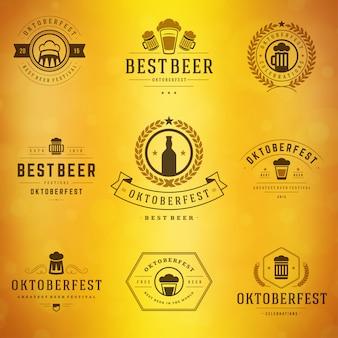 Oktoberfest-abzeichen und etiketten set vintage typografische