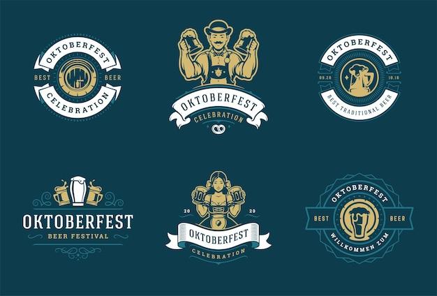 Oktoberfest-abzeichen und -etiketten stellen typografische designvektorvorlagen der weinlese ein.