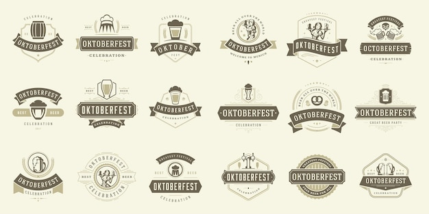 Oktoberfest-abzeichen und -etiketten stellen typografische designvorlagen der vintage-vektorillustration ein.