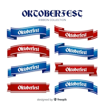 Oktoberfest bänder sammlung im flachen design