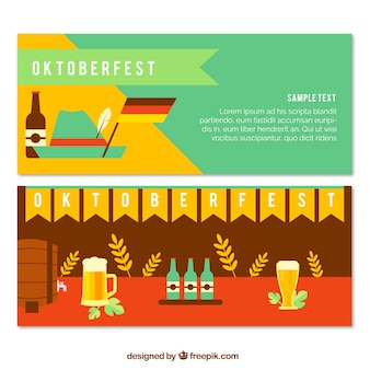 Oktoberfest banner in flachem design