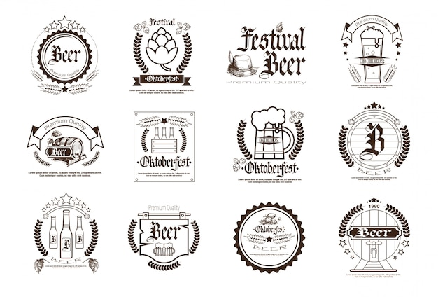Oktoberfest bier festival badge set
