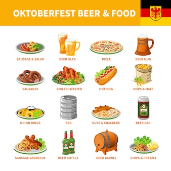 Oktoberfest-bier-nahrungsmittelflache ikonen eingestellt