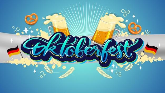 Oktoberfest-bierfest, banner- und plakatvorlage mit oktoberfest-kalligraphie-handbeschriftung und bier. bierfest auf deutsch