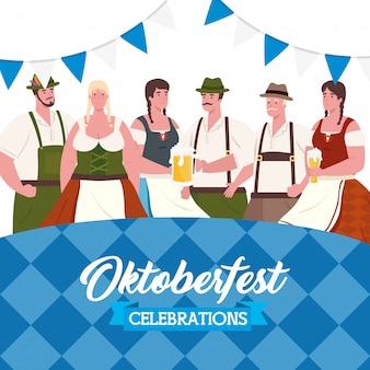Oktoberfest bierfest feier mit gruppenleuten, die kleidung traditionelles vektorillustrationsdesign tragen
