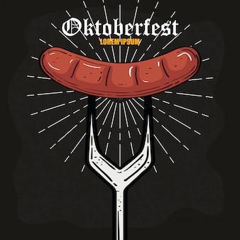Oktoberfest bierfest feier mit wurst in der gabel