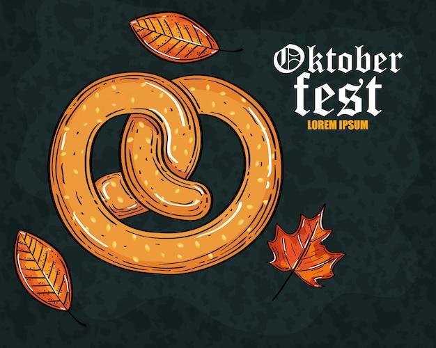 Oktoberfest bierfest mit köstlichen brezeln und herbstlaub
