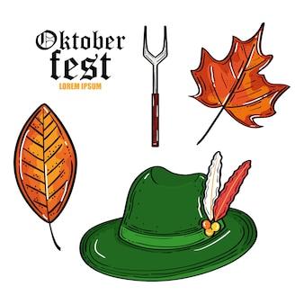 Oktoberfest bierfest mit tiroler hut und herbstlaub