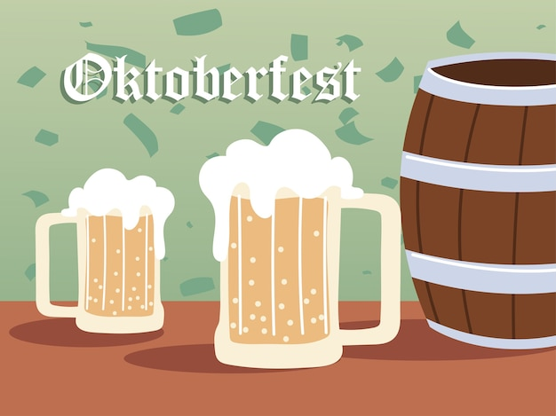 Oktoberfest biergläser und fass design, deutschland festival und feier thema