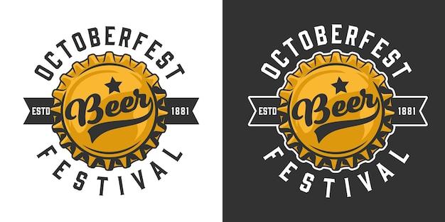 Oktoberfest buntes logo mit bierflaschenverschluss und inschriften im vintage-stil isoliert