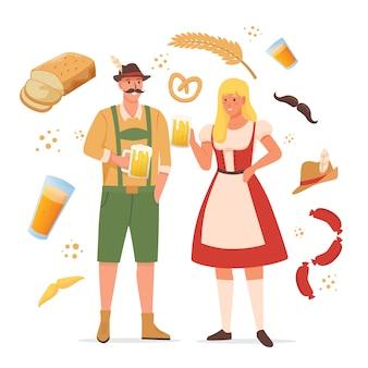 Oktoberfest charakter mit verschiedenen gegenständen
