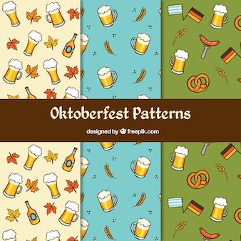 Oktoberfest, drei muster mit typischen elementen
