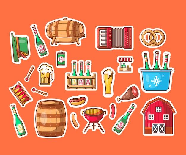 Oktoberfest-element-cartoon-illustrationen-aufkleberpaket