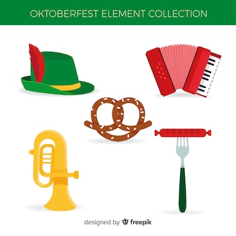 Oktoberfest-elementsammlung im flachen design