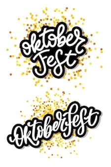 Oktoberfest feier schriftzug typografie set