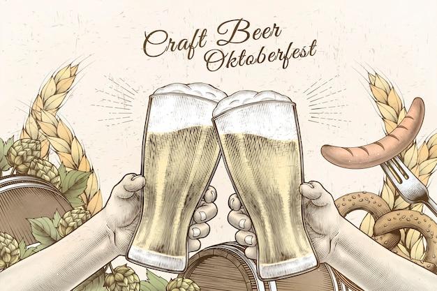 Oktoberfest-feierentwurf im gravierten stil, hände, die biergläser halten und hintergrund mit zutaten bejubeln