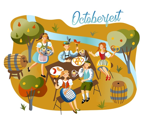 Oktoberfest-feierillustration, leute, die trinken, kellnerin in traditioneller bayerischer kleidung, die alkoholisches getränk bringt.