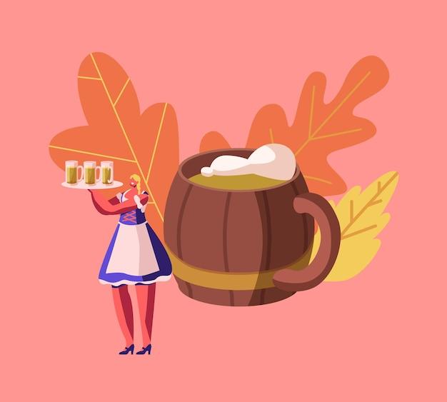 Oktoberfest festival event. karikatur flache illustration