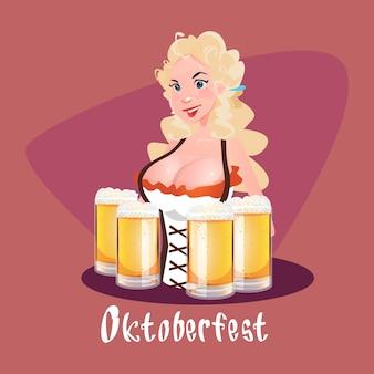 Oktoberfest festival girl kellnerin halten bierkrug gläser