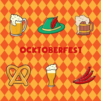 Oktoberfest-festival-konzept. vintage-vektor-farb-illustration-design.
