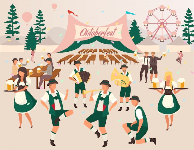 Oktoberfest flache vektor-illustration