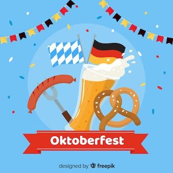 Oktoberfest flaches design mit elementen
