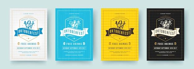 Oktoberfest-flyer oder poster retro-typografie-vektorvorlagen entwerfen einladungen zum bierfest.