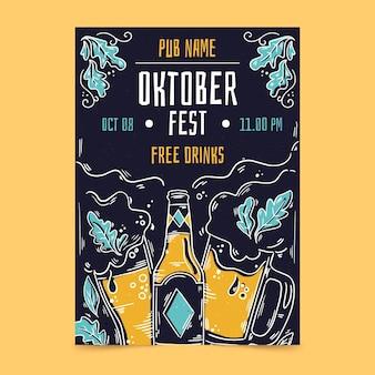 Oktoberfest flyer vorlage mit bier