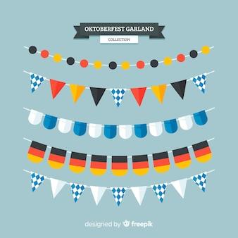 Oktoberfest-girlandensammlung im flachen design