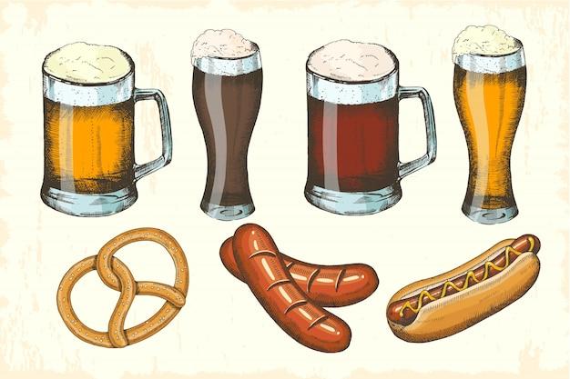 Oktoberfest hand gezeichnete objekte festgelegt. wurst, brezel, hot dog, verschiedene biersorten. oktoberfest-skizze. vektor-illustration für menü, poster, banner,