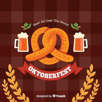 Oktoberfest-hintergrund in der flachen art
