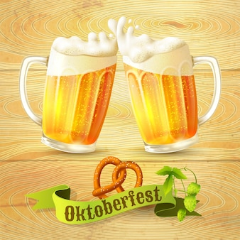 Oktoberfest hintergrund mit bier