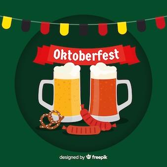 Oktoberfest-hintergrund mit bieren im flachen desing