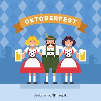 Oktoberfest-hintergrund mit glücklichen menschen in flachem desing