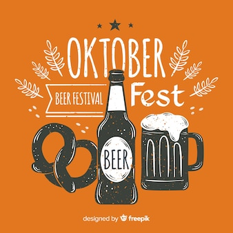 Oktoberfest-hintergrund mit hand gezeichneten elementen
