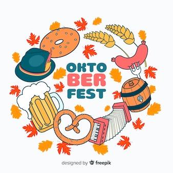 Oktoberfest-hintergrund mit klassischen elementen