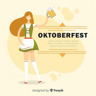 Oktoberfest hintergrund mit mädchen