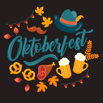 Oktoberfest hintergrund mit traditionellen elementen