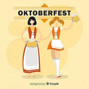 Oktoberfest-hintergrund mit zwei frauen