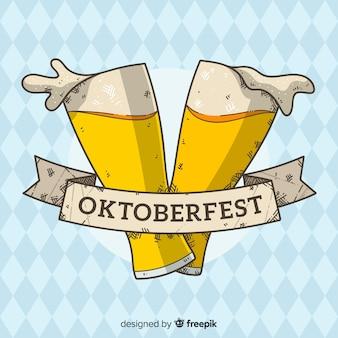 Oktoberfest-hintergrund mit zwei gläsern