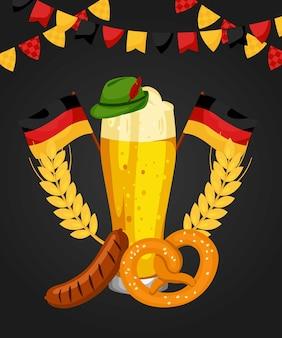 Oktoberfest illustration bier poster vektor deutschland tradition