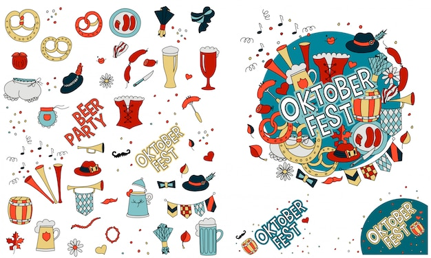 Oktoberfest in doodle-stil