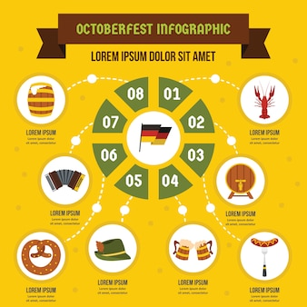 Oktoberfest infographik vorlage, flachen stil