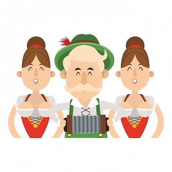 Oktoberfest-karikatur der bayerischen leute