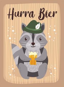 Oktoberfest-karikatur-niedlicher tierwaschbär oktober-bier-festival