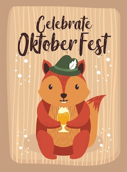 Oktoberfest-karikatur-niedliches tiereichhörnchen-oktober-bier-festival