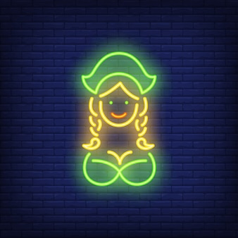Oktoberfest-kellnerin auf ziegelsteinhintergrund. neon-stil