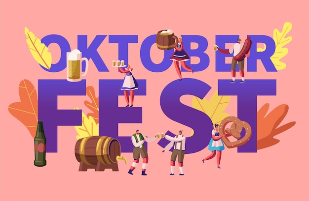 Oktoberfest-konzept. karikatur flache illustration