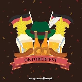 Oktoberfest-konzept mit flachem designhintergrund